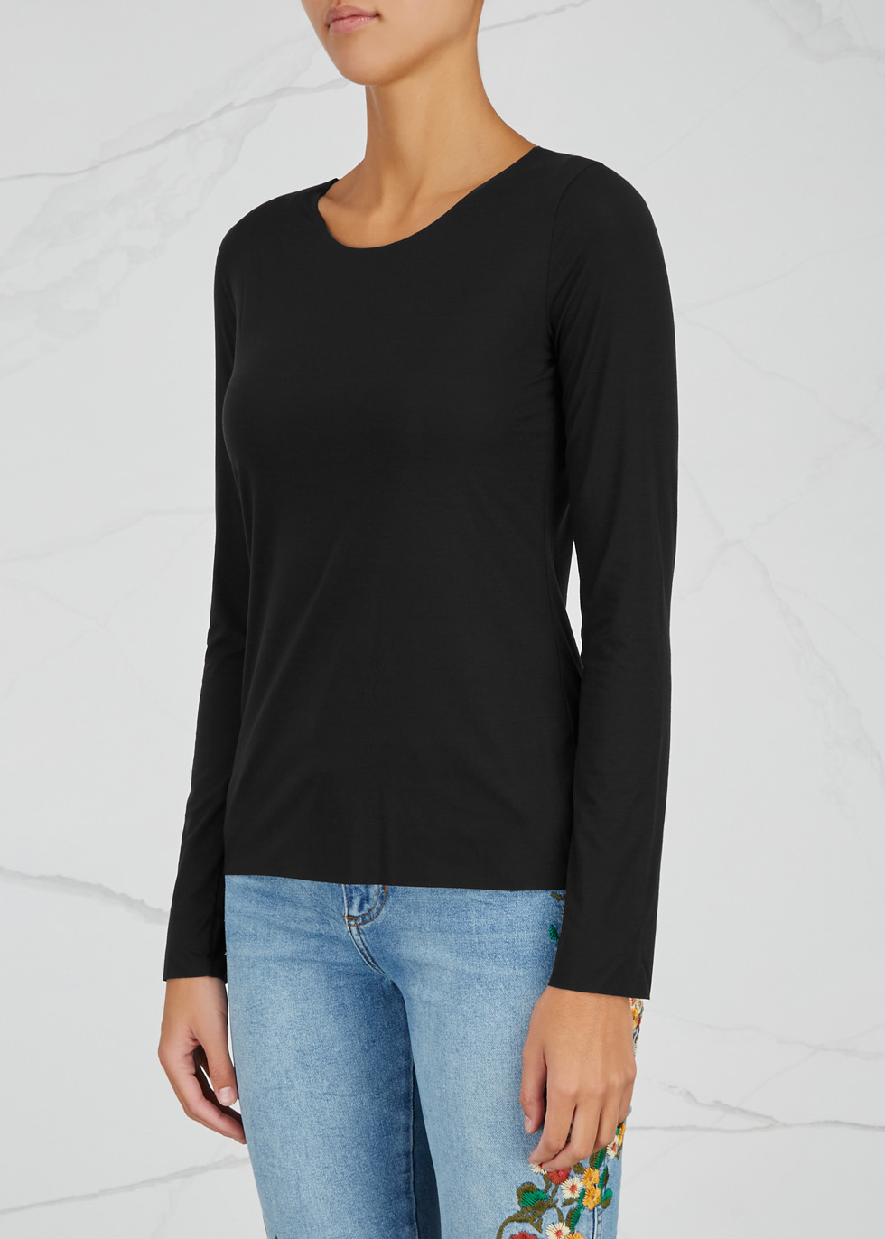 Pure black jersey top - Wolford