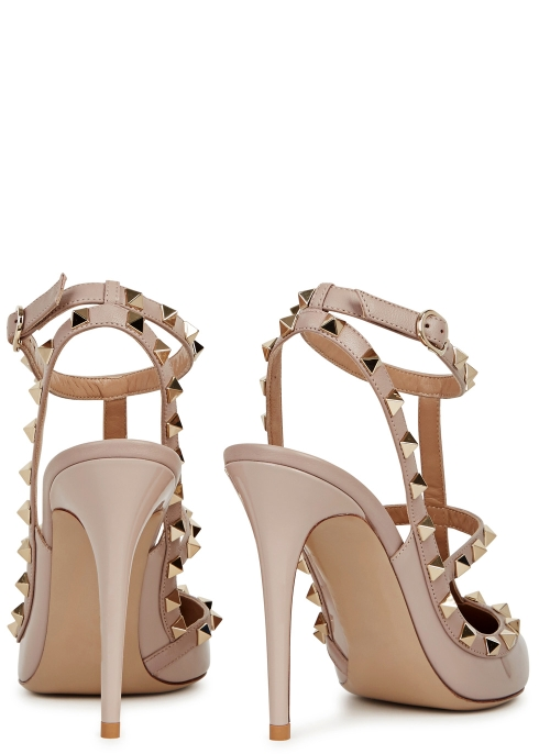 83d560e06d25 Valentino Garavani Rockstud 100 blush patent leather pumps - Harvey ...