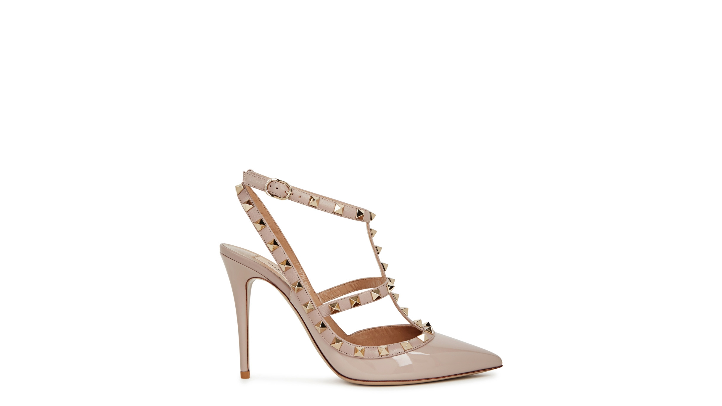 93f7b77b775d Valentino Garavani Rockstud 100 blush patent leather pumps - Harvey ...