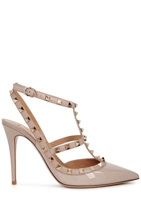 ea9734e42cb Valentino Garavani Rockstud 100 blush patent leather pumps - Harvey ...
