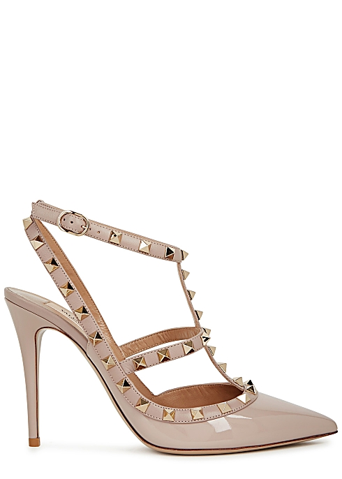803d6b74b7 Valentino Garavani Rockstud 100 blush patent leather pumps - Harvey ...