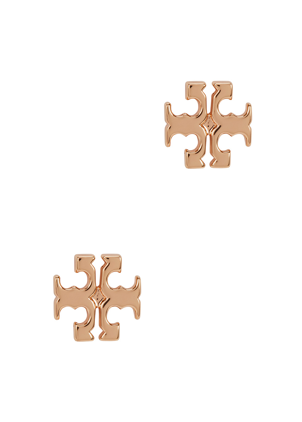Rose gold-plated logo stud earrings - Tory Burch