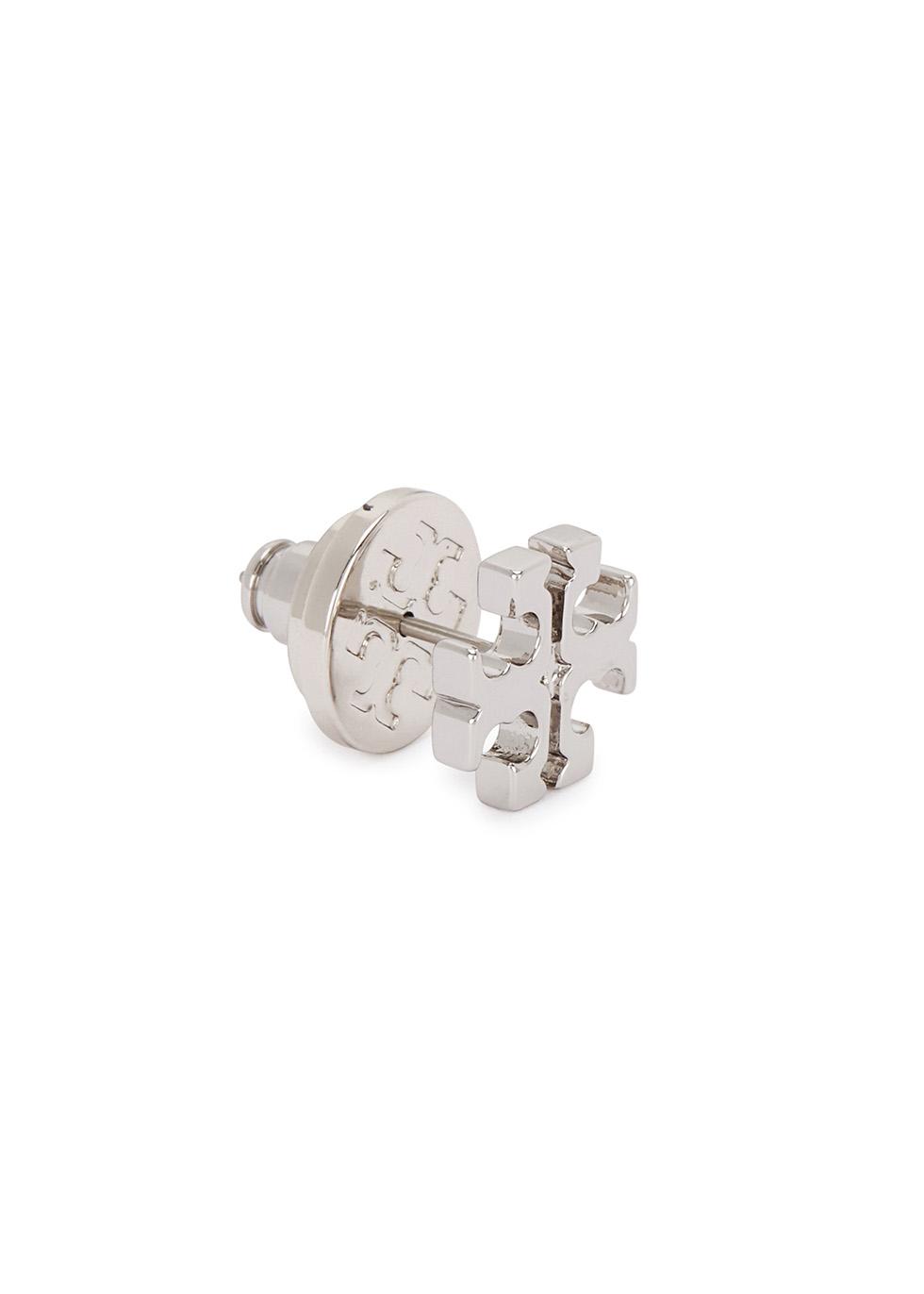 Silver-plated logo stud earrings - Tory Burch