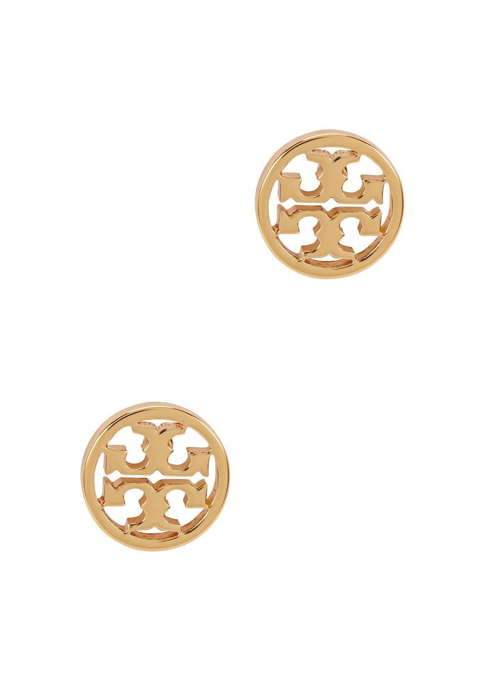 Gold-plated logo stud earrings - Tory Burch