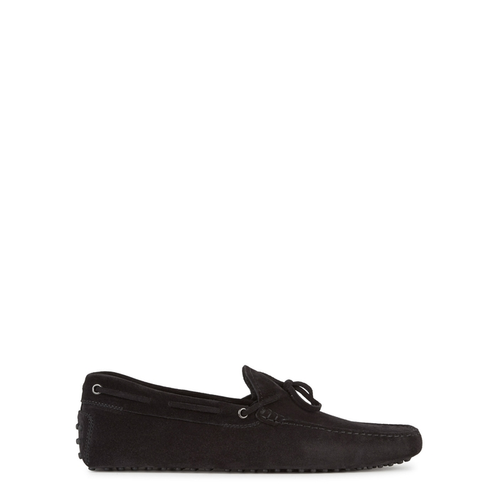 Tod's Gommino Black Suede Driving Shoes