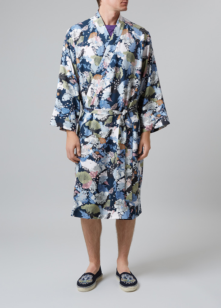 Meng Men S Multicolour Printed Silk Twill Dressing Gown Harvey Nichols