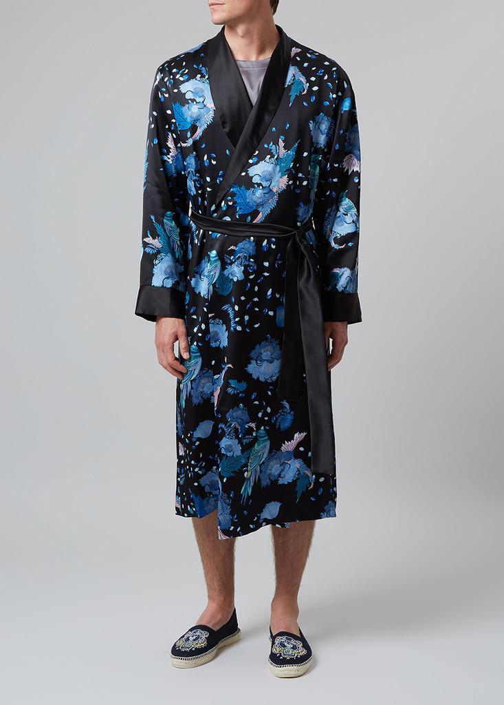 Meng Men S Black Multicolour Printed Silk Satin Dressing Gown Harvey Nichols