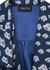 Men s navy printed silk twill dressing gown - MENG