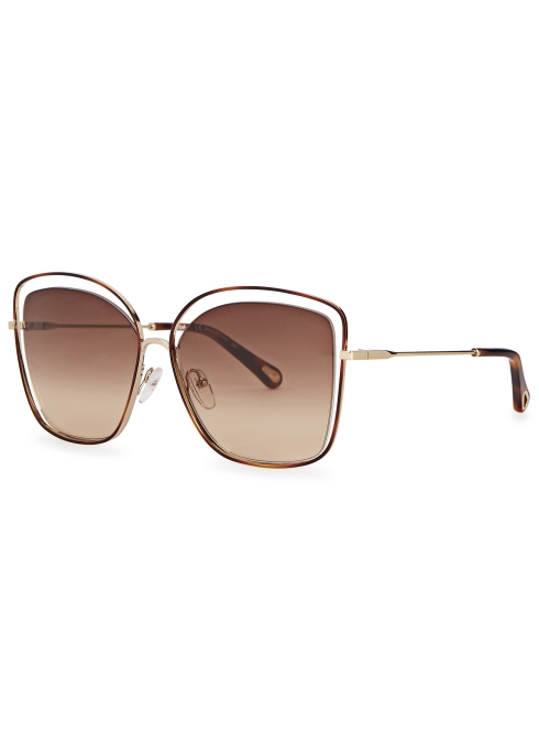 72e466c769f Chloé Poppy cut-out oversized sunglasses - Harvey Nichols