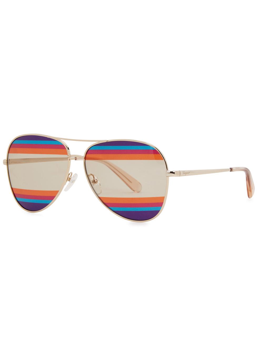 Striped aviator-style sunglasses - Salvatore Ferragamo