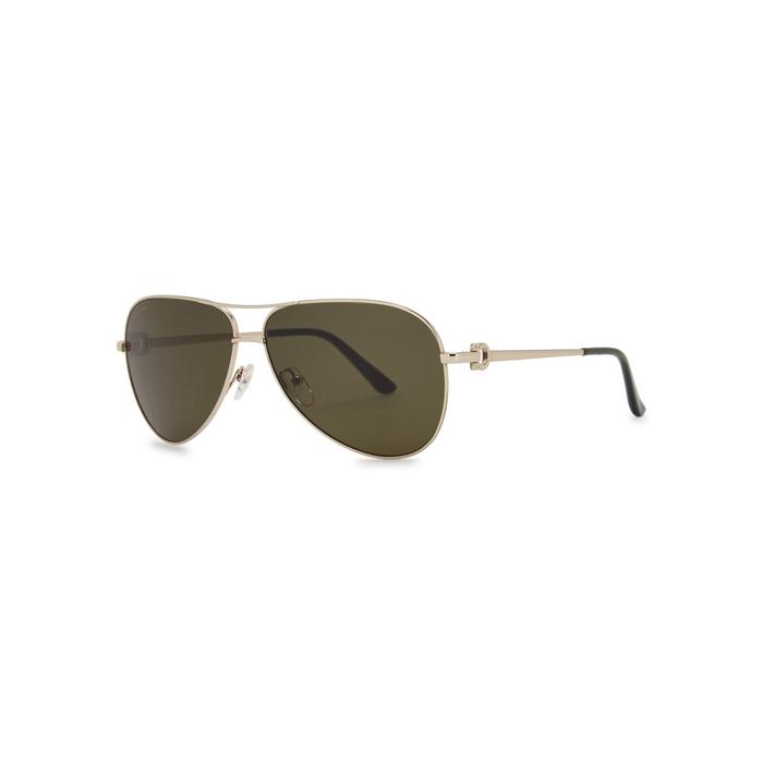 def001f90d Salvatore Ferragamo Dark Olive Aviator-Style Sunglasses In Gold ...