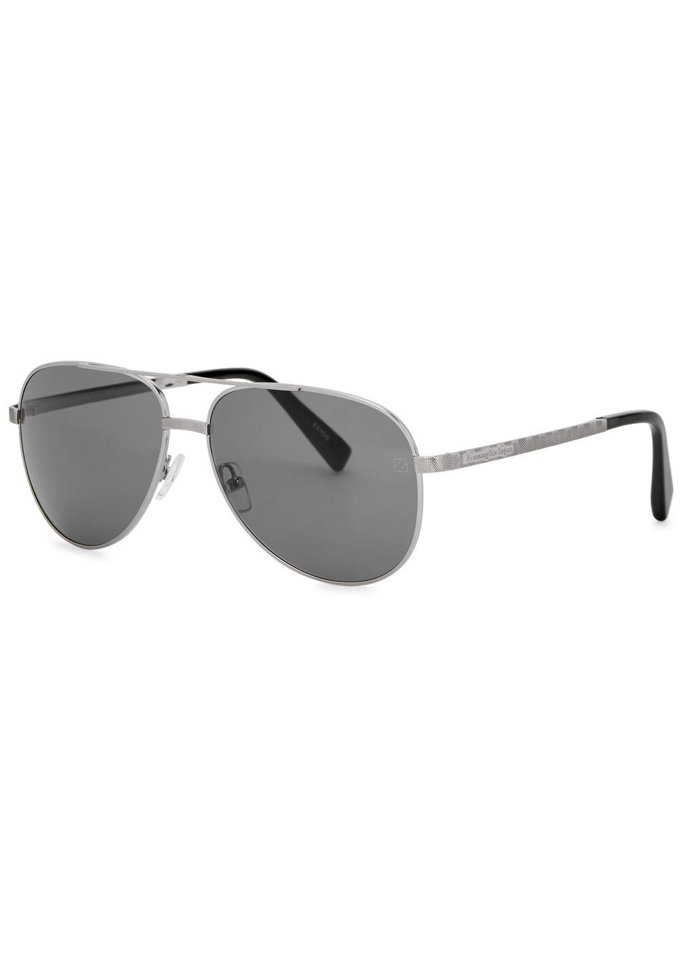 Silver Tone Aviator-Style Sunglasses, Grey