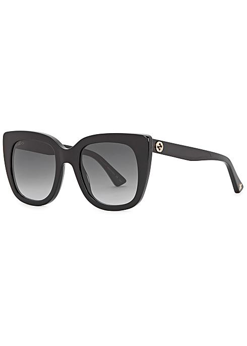 313544a48 Gucci Black square-frame sunglasses - Harvey Nichols