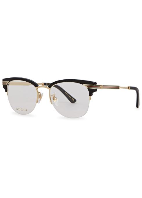 e5d616c0b8 Gucci Black clubmaster-style optical glasses - Harvey Nichols
