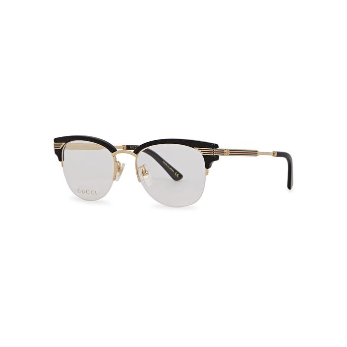 bc883025f0c Gucci Black Clubmaster-style Optical Glasses