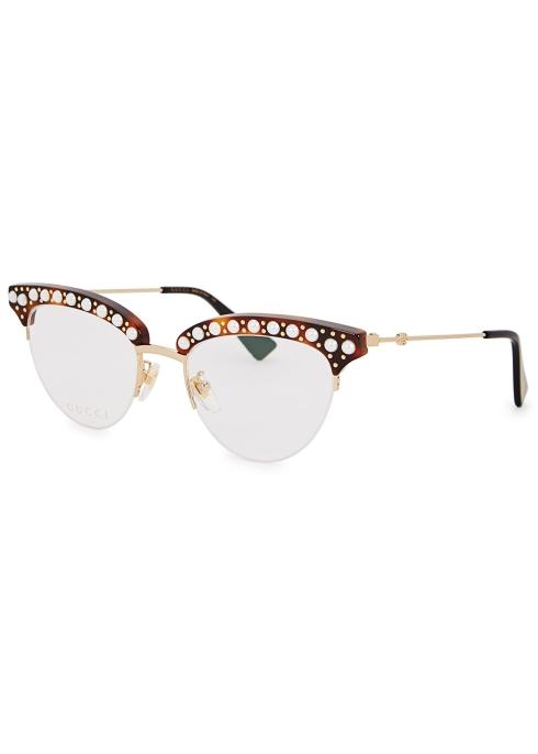 485f62583a194 Gucci Embellished cat-eye optical glasses - Harvey Nichols