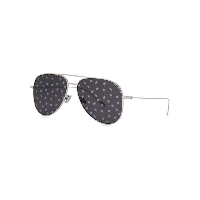 Saint Laurent SL193 Silver Aviator-style Sunglasses