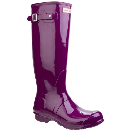 Hunter WOMENS ORIGINAL TALL GLOSS WELLINGTON BOOTS PURPLE