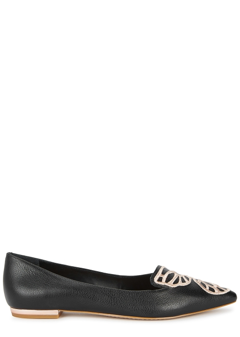 80160fb8de04 Sophia Webster Bibi black leather flats - Harvey Nichols
