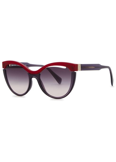 97b10ab0f82 Miu Miu Dark purple cat-eye sunglasses - Harvey Nichols