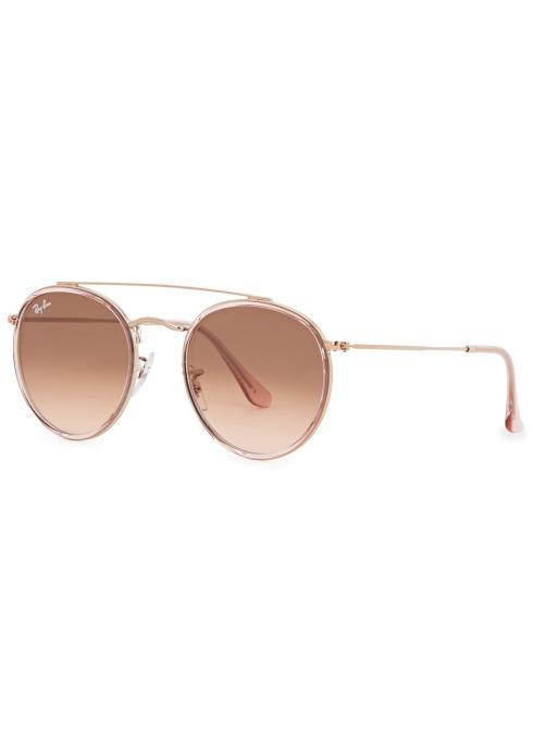 d669fc03638 Ray-Ban Rose gold tone round-frame sunglasses - Harvey Nichols