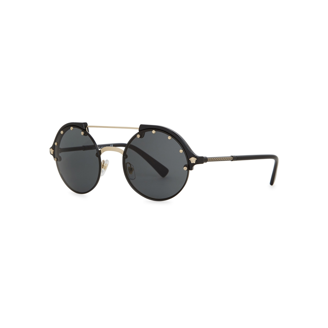 97e3cd18380e Versace Black round-frame sunglasses - Harvey Nichols