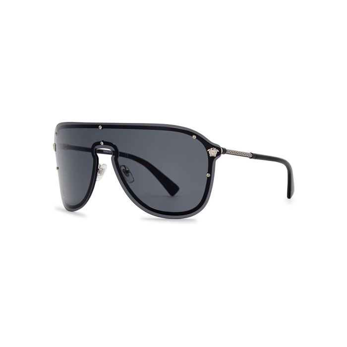 3d909778ae93 Versace Black Wrap-around Sunglasses