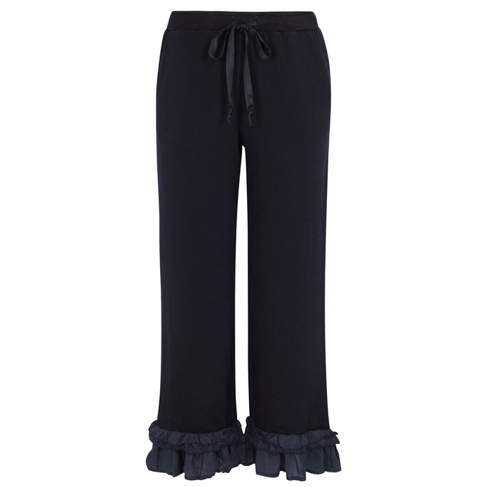 Clu NAVY CROPPED JERSEY TROUSERS