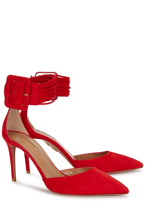 12a53c2db66a AQUAZZURA Casablanca red suede pumps - Harvey Nichols