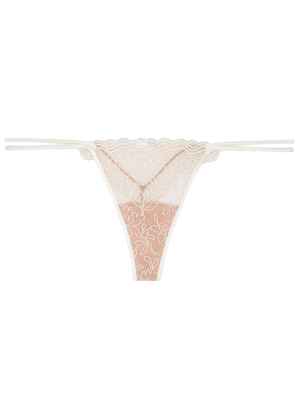 LA PERLA MARBLE MOOD EMBROIDERED TULLE THONG