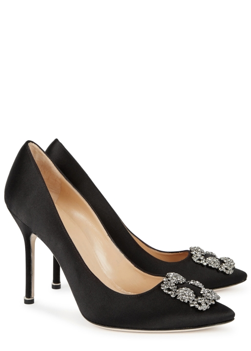 811b8072ca4e Manolo Blahnik Hangisi 105 black silk satin pumps - Harvey Nichols