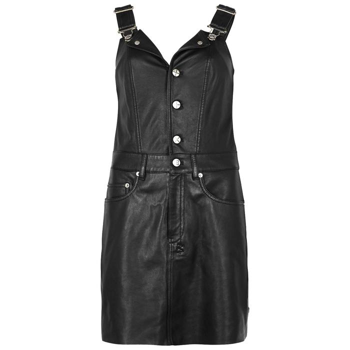Ksubi KSUBI BLACK LEATHER PINAFORE DRESS
