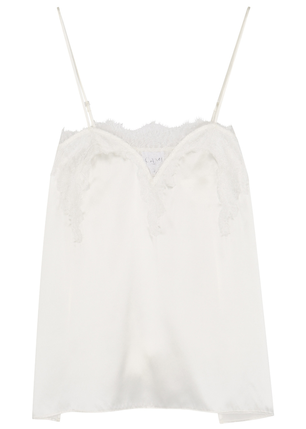 The Sweetheart Lace-Trimmed Silk-Charmeuse Camisole in White
