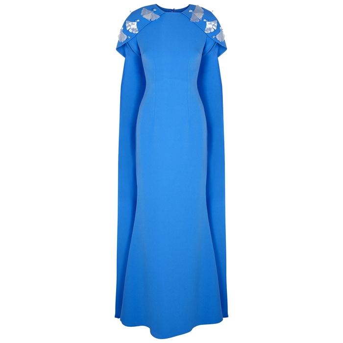 Safiyaa BLUE EMBELLISHED CAPE DRESS
