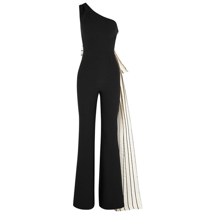 Safiyaa BLACK BOW-EMBELLISHED JUMPSUIT