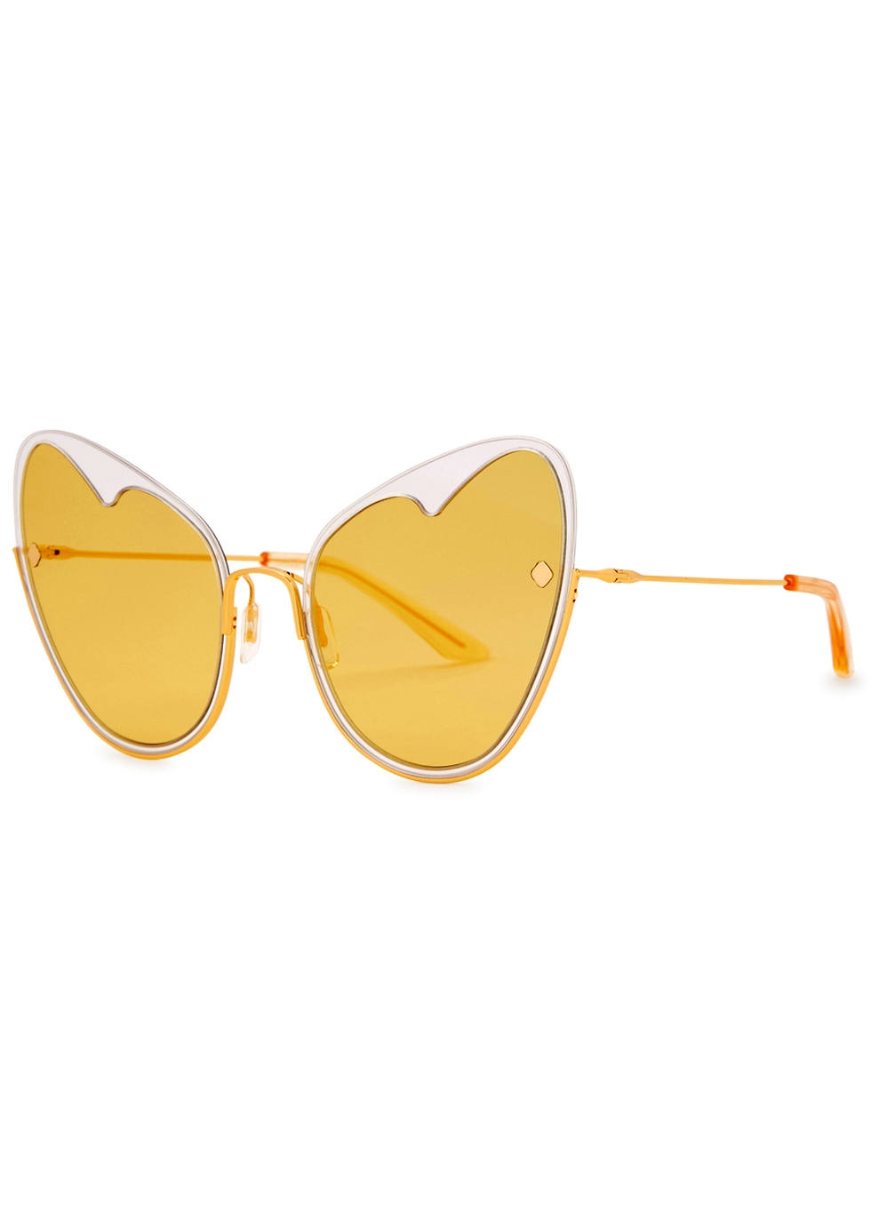 MOY ATELIER NAKED HEART 12KT GOLD-PLATED SUNGLASSES