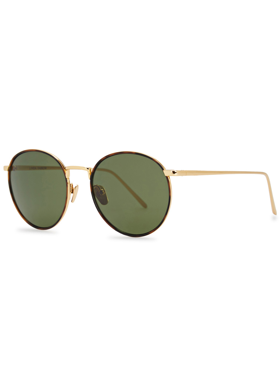 LINDA FARROW LUXE 704 GOLD-PLATED ROUND-FRAME SUNGLASSES