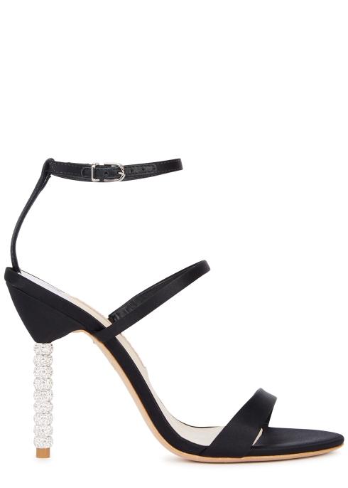 c828d136443 Sophia Webster Rosalind 100 black satin sandals - Harvey Nichols