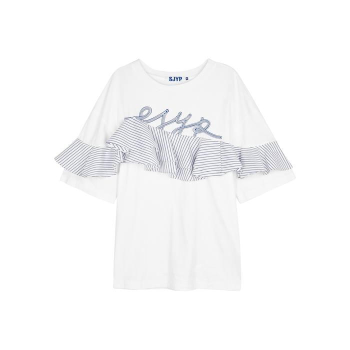 Sjyp WHITE RUFFLE-TRIMMED COTTON TOP