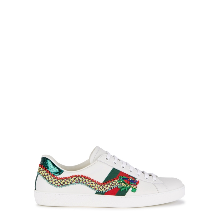 220918bb92d Gucci New Ace Dragon-appliquéd Leather Trainers