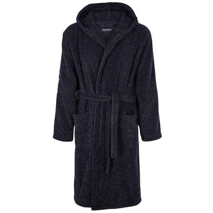 6889539939 Emporio Armani Navy Cotton Terry Robe In Dark Blue