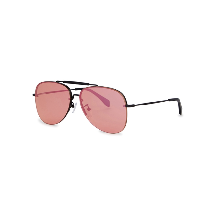 6106165cdf Shop Zadig   Voltaire Black Mirrored Aviator-Style Sunglasses In Pink