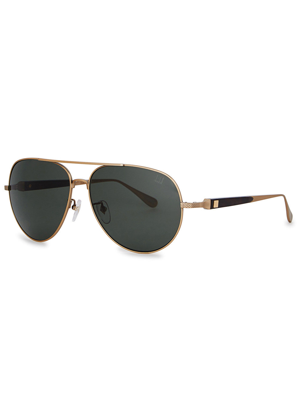 DUNHILL LONDON Gold Tone Aviator-Style Sunglasses in Green