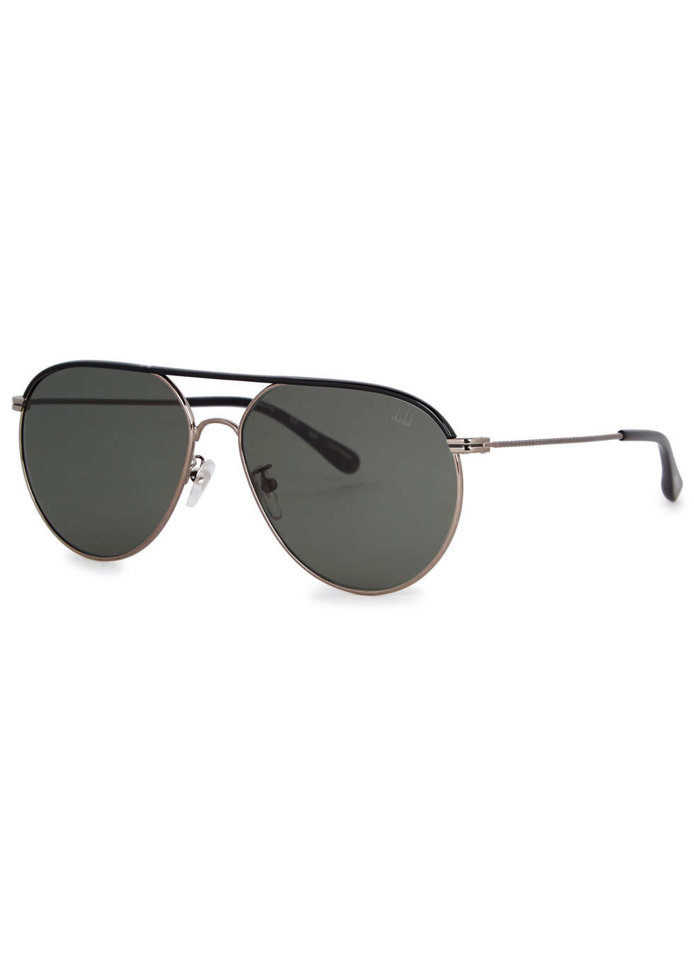 DUNHILL LONDON Dark Green Aviator-Style Sunglasses in Grey