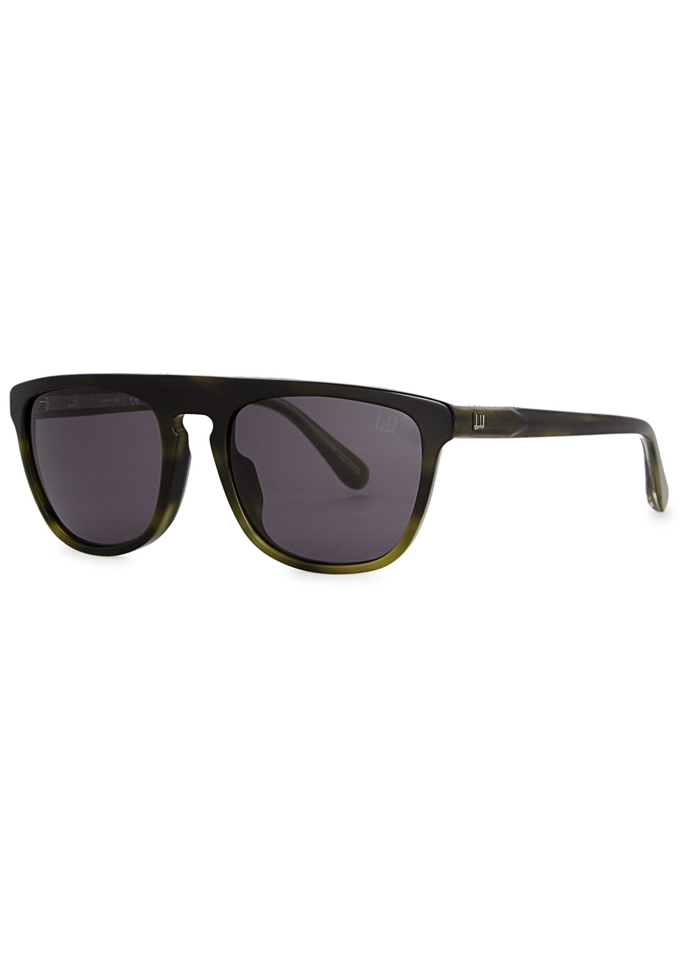 DUNHILL LONDON Olive Tortoiseshell D-Frame Sunglasses in Green