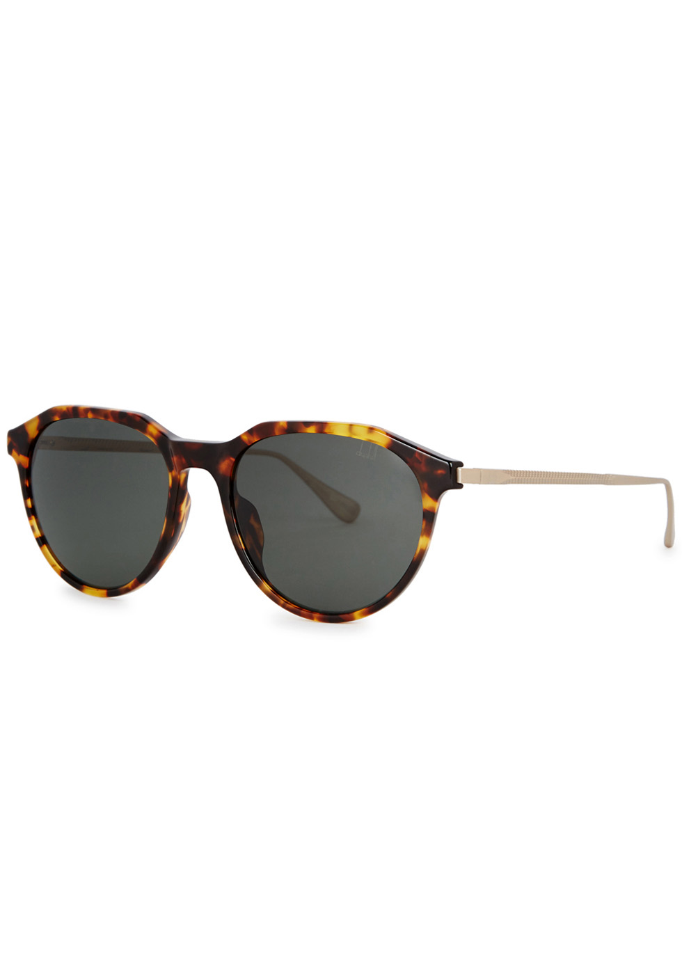 DUNHILL LONDON Tortoiseshell Oval-Frame Sunglasses in Havana