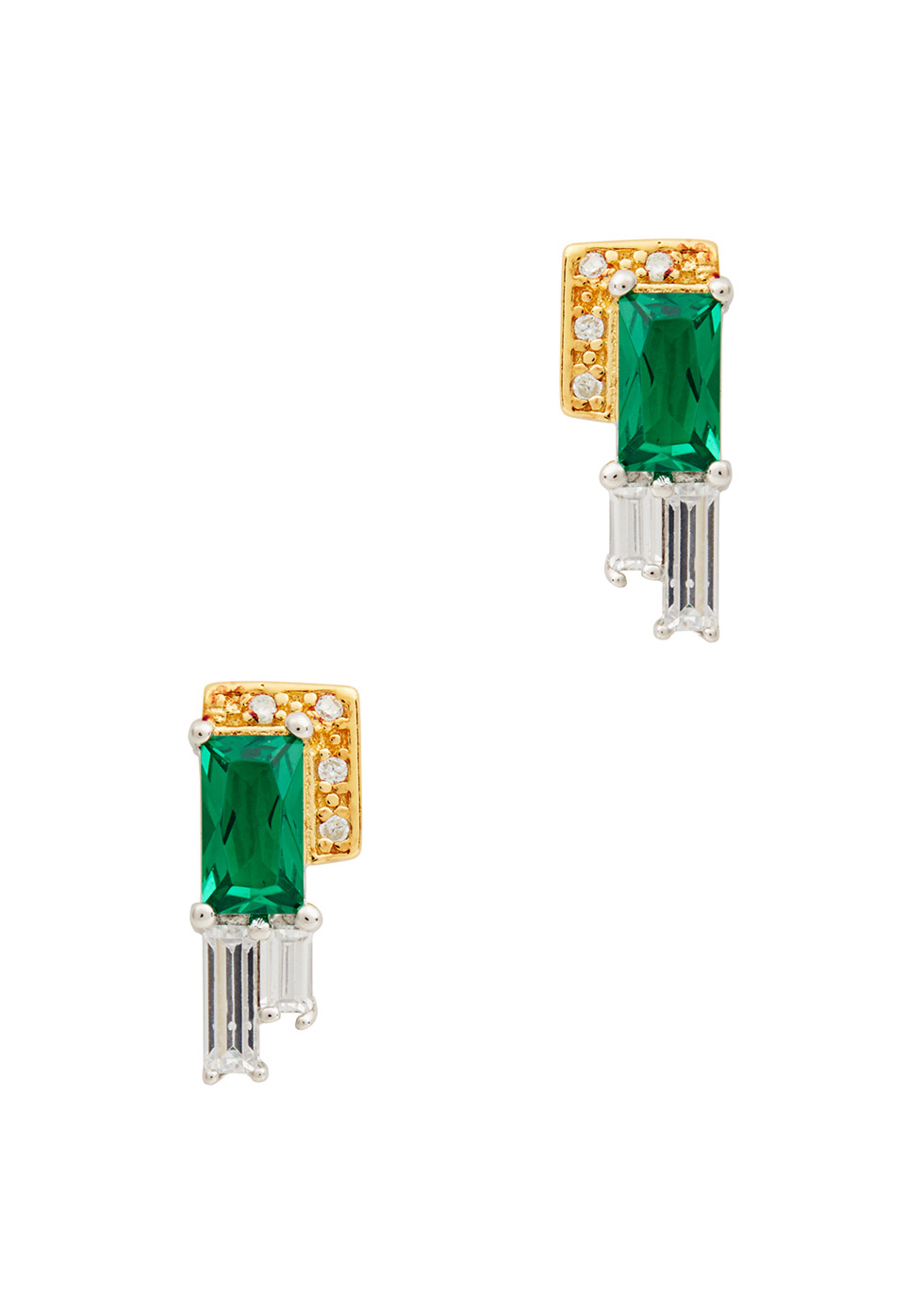 V JEWELLERY AUDREY GOLD AND RHODIUM-PLATED EARRINGS