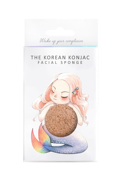 The Konjac Sponge Company Mythical Mermaid French Pink Clay Konjac Sponge