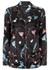 Black floral silk satin shirt - MENG