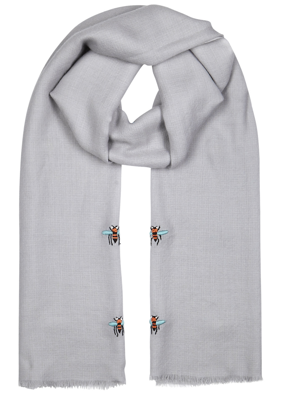 JANAVI BEES EMBROIDERED CASHMERE SCARF